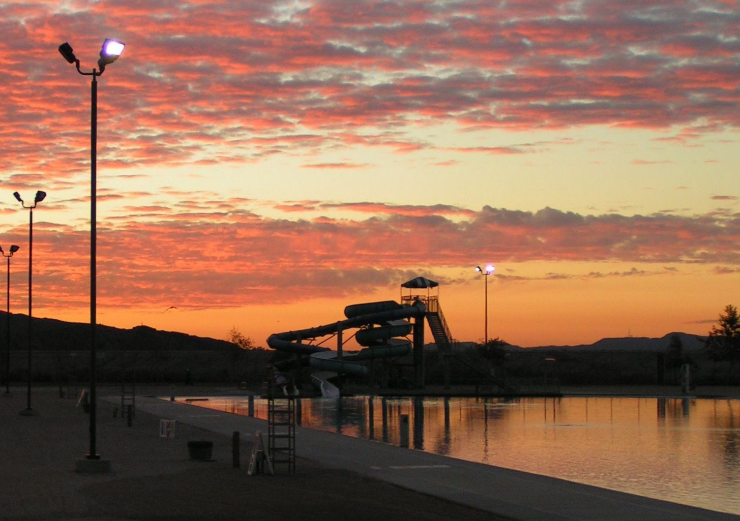 The Hansen Dam Aquatic Center at sunset, as captured by a Lake View Terrace Resident.