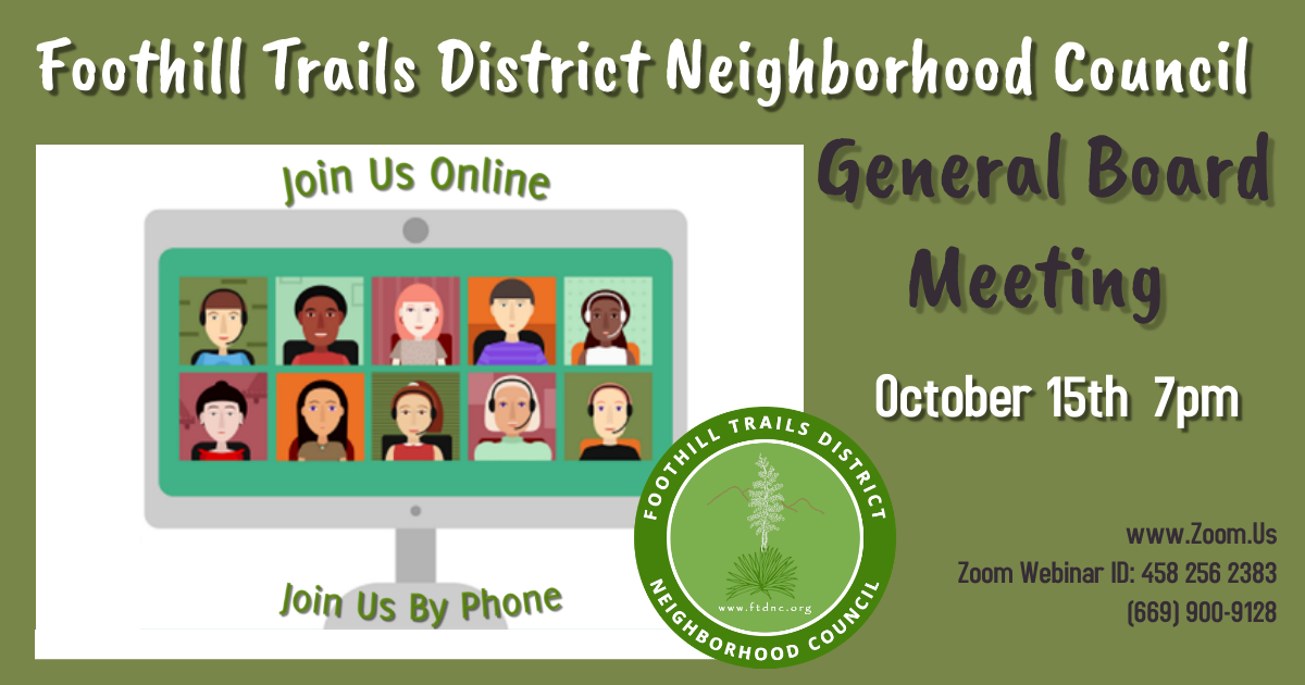 General Board Meeting 10.15.20 at 7pm via Zoom