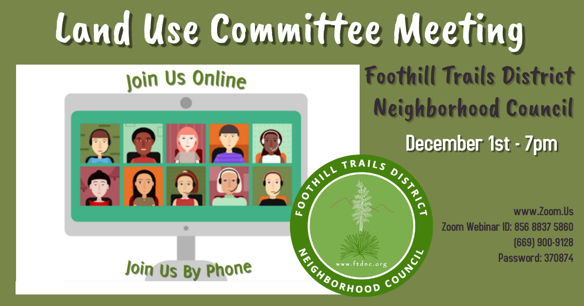 Land Use Committee Meeting December 1 at 7pm