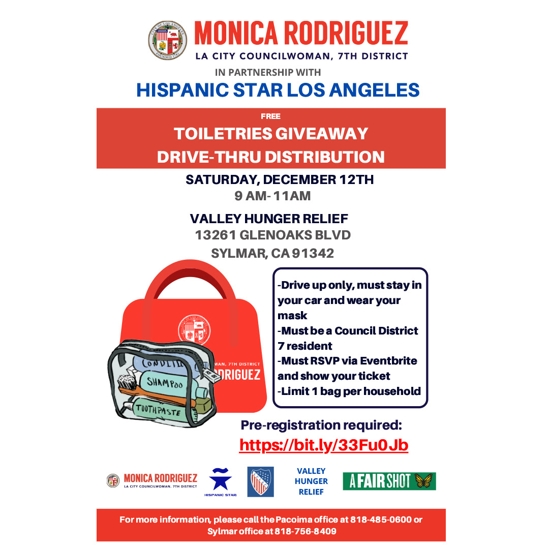 Free Toiletries Giveaway for Families in the 7th Council District