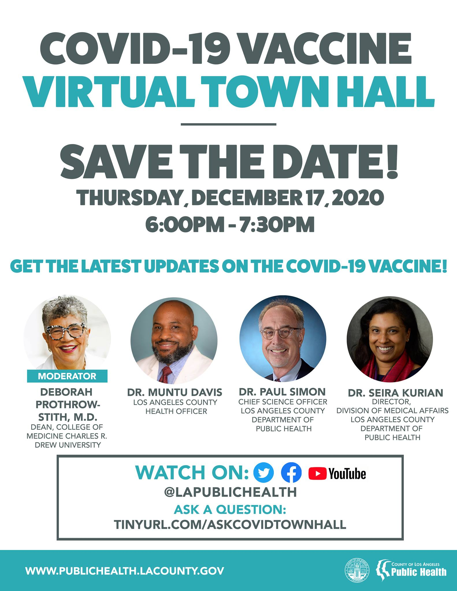 COVID VACCINE TOWN HALL TONIGHT at 6:00 PM